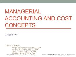 Kế toán, kiểm toán - Chapter 01: Managerial accounting and cost concepts