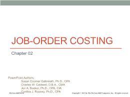 Kế toán, kiểm toán - Chapter 02: Job - Order costing