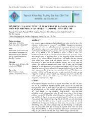 Mô phỏng cân bằng nước và muối cho cây bắp (zea mays l.) trên đất nhiễm mặn tại huyện Thạnh Phú - Tỉnh Bến Tre