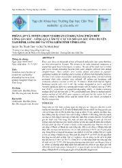 Phân lập và tuyển chọn vi khuẩn có khả năng phân hủy lông gia súc - Lông gia cầm từ các lò mổ gia súc ở ba huyêṇ Tam Bình, Long Hồ và vũng liêm tỉnh Vinh Long