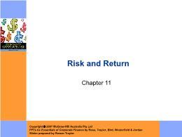 Tài chính doanh nghiệp - Chapter 11: Risk and return