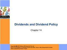 Tài chính doanh nghiệp - Chapter 14: Dividends and dividend policy