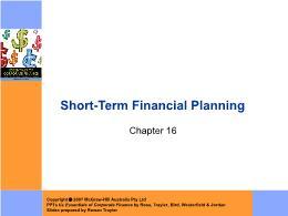 Tài chính doanh nghiệp - Chapter 16: Short - Term financial planning