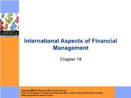 Tài chính doanh nghiệp - Chapter 18: International aspects of financial management
