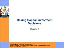 Tài chính doanh nghiệp - Chapter 9: Making capital investment decisions