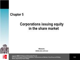 Tài chính kế toán - Chapter 5: Corporations issuing equity in the share market