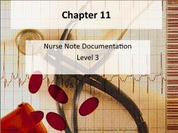 Y khoa, y dược - Chapter 11: Nurse note documentation