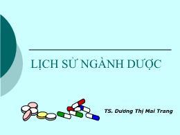 Y khoa, y dược - Lịch sử ngành dược