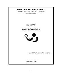 Bài giảng Bóng bàn - Hồ Văn Cường