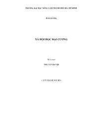 Bài giảng Xã hội học đại cương - Võ Văn Tiệp