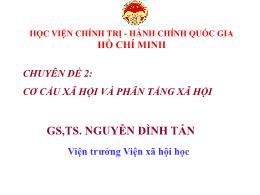 Cơ cấu xã hội và phân tầng xã hội - Nguyễn Văn Tấn