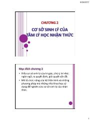 Tâm lý học nhận thức - Chương 2: Cơ sở sinh lý của tâm lý học nhận thức - Nhan Thị Lạc An
