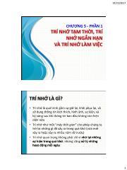 Tâm lý học nhận thức - Chương 5, Phần 1: Trí nhớ tạm thời, trí nhớ ngắn hạn và trí nhớ làm việc - Nhan Thị Lạc An