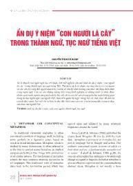 """Ẩn dụ ý niệm """"con người là cây"""" trong thành ngữ, tục ngữ tiếng Việt - Nguyễn Thị Bích Hạnh"""