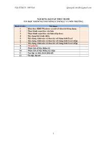 Bài tập thực hành Tin học nhóm ngành Nông-Lâm-Ngư và Môi trường - Buổi 1: Khai thác HĐH Windows và một số tiện ích thông dụng
