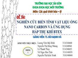 Bài thuyết trình Nghiên cứu biến tính vật liệu ống nano carbon và ứng dụng hấp thụ khí Btex - Lương Viên Bội Dinh