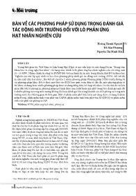 Bàn về các phương pháp sử dụng trong đánh giá tác động môi trường đối với lò phản ứng hạt nhân nghiên cứu - Hoàng Thanh Nguyệt
