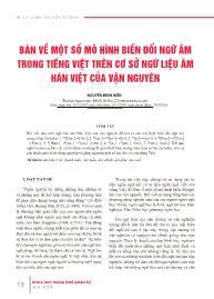 Bàn về một số mô hình biến đổi ngữ âm trong tiếng Việt trên cơ sở ngữ liệu âm Hán Việt của vận nguyên - Nguyễn Đình Hiền
