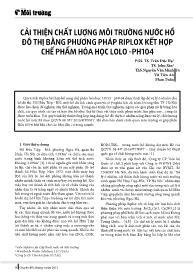 Cải thiện chất lượng môi trường nước hồ đô thị bằng phương pháp riplox kết hợp chế phẩm hóa học Lolo -Ph104 - Trần Đức Hạ