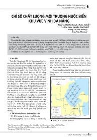 Chỉ số chất lượng môi trường nước biển khu vực vịnh Đà Nẵng - Nguyễn Thị Mai Lựu