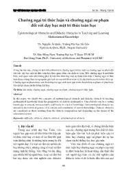 Chướng ngại tri thức luận và chướng ngại sư phạm đối với dạy học một tri thức toán học - Nguyễn Anh Quốc