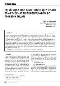 Cơ sở khoa học định hướng quy hoạch tổng thể phát triển bền vững đới bờ tỉnh Bình Thuận - Dương Thị Thanh Xuyến