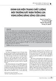 Đánh giá hiện trạng chất lượng môi trường đất mặn trồng lúa vùng đồng bằng sông Cửu Long - Nguyễn Quang Huy