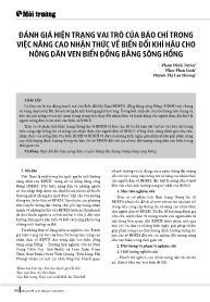 Đánh giá hiện trạng vai trò của báo chí trong việc nâng cao nhận thức về biến đổi khí hậu cho nông dân ven biển đồng bằng sông Hồng - Phạm Đình Tuyên