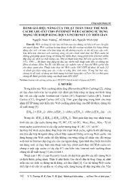 Đánh giá hiệu năng của thuật toán thay thế web cache lru-Ext cho internet Web caching sử dụng mạng tích hợp hàng đợi và Petri net có thời gian - Nguyễn Xuân Trường