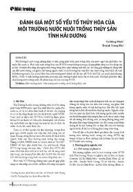 Đánh giá một số yếu tố thủy hóa của môi trường nước nuôi trồng thủy sản tỉnh Hải Dương - Tạ Hồng Minh