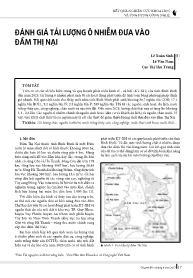 Đánh giá tải lượng ô nhiễm đưa vào đầm Thị Nại - Lê Xuân Sinh