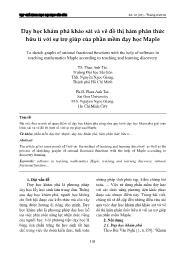Dạy học khám phá khảo sát và vẽ đồ thị hàm phân thức hữu tỉ với sự trợ giúp của phần mềm dạy học Maple - Phan Anh Tài
