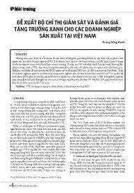 Đề xuất bộ chỉ thị giám sát và đánh giá tăng trưởng xanh cho các doanh nghiệp sản xuất tại Việt Nam - Hoàng Hồng Hạnh