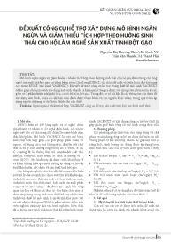 Đề xuất công cụ hỗ trợ xây dựng mô hình ngăn ngừa và giảm thiểu tích hợp theo hướng sinh thái cho hộ làm nghề sản xuất tinh bột gạo - Nguyễn Thị Phương Thảo