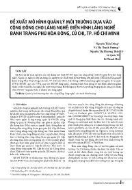 Đề xuất mô hình quản lý môi trường dựa vào cộng đồng cho làng nghề: Điển hình làng nghề bánh tráng phú Hòa Đông, Củ Chi, TP.Hồ Chí Minh - Nguyễn Tiến Dũng