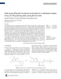 Định lượng đồng thời bromhexin hydrochlorid và salbutamol sulphat trong siro bằng phương pháp quang phổ đạo hàm - Nguyễn Thị Ngọc Yến
