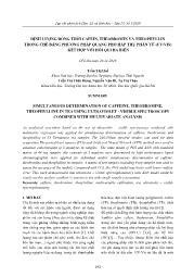 Định lượng đồng thời cafein, theobromin và theophyllin trong chè bằng phương pháp quang phổ hấp thụ phân tử (Uv/Vis) kết hợp với hồi qui đa biến - Trần Thị Huế
