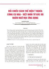 Đối chiếu cách thể hiện ý nghĩa công cụ Nga - Việt nhìn từ góc độ ngôn ngữ học ứng dụng - Đoàn Hữu Dũng