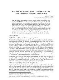 Đối chiếu đặc điểm ngôn ngữ của hành vi từ chối trực tiếp trong tiếng Việt và tiếng Nga - Nguyễn Tư Sơn