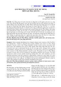 Giải pháp bảo vệ nguồn nước hệ thống thủy lợi thác huống - Nguyễn Thanh Hiền