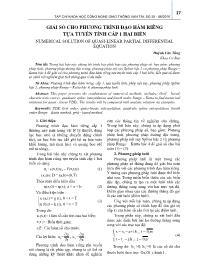 Giải số cho phương trình đạo hàm riêng tựa tuyến tính cấp 1 hai biến - Huỳnh Văn Tùng