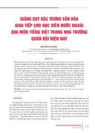 Giảng dạy đặc trưng văn hóa giao tiếp cho học viên nước ngoài qua môn tiếng việt trong nhà trường quân đội hiện nay - Nguyễn Thị Thuần