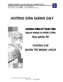 Giáo trình Kỹ thuật viên Ngành mạng và Phần cứng - Học phần IV: Chứng chỉ quản trị mạng LINUX