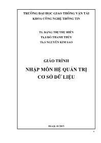 Giáo trình Nhập môn hệ quản trị Cơ sở dữ liệu (Phần 1) - Đặng Thị Thu Hiền
