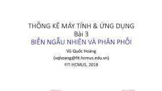 Giáo trình Thống kê máy tính và ứng dụng - Bài 3: Biến ngẫu nhiên và phân phối - Vũ Quốc Hoàng