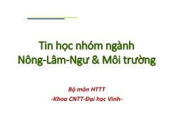 Giáo trình Tin học nhóm ngành Nông-Lâm-Ngư & Môi trường - Chương 4: Khai thác bảng tính điện tử (MS Excel 2010)