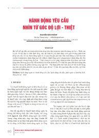 Hành động yêu cầu nhìn từ góc độ lợi - thiệt - Nguyễn Vân Khánh