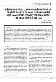 Hiện trạng năng lượng gió biển thế giới và đề xuất phát triển năng lượng gió biển Việt Nam hướng tới mục tiêu giảm thiểu tác động biến đổi khí hậu - Du Văn Toán