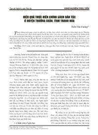 Hiệu quả thực hiện chính sách dân tộc ở huyện Thường Xuân, tỉnh Thanh Hóa - Trần Văn Cường