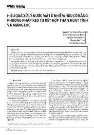 Hiệu quả xử lý nước mặt ô nhiễm hữu cơ bằng phương pháp keo tụ kết hợp than hoạt tính và màng lọc - Nguyễn Thị Thanh Phượng